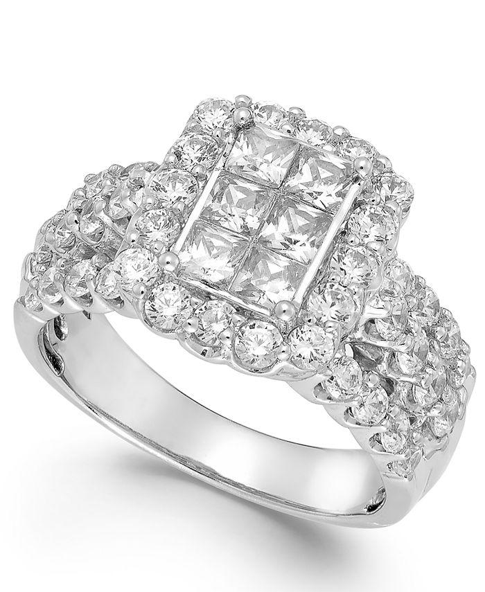 Macy's - Diamond Halo Ring in 14k White Gold (2 ct. t.w.)