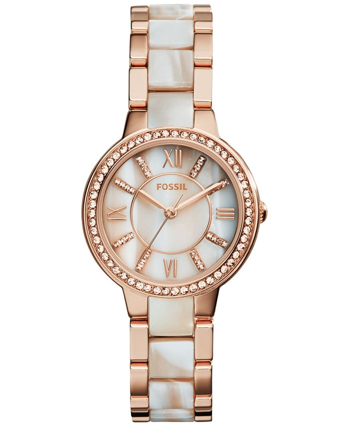 Fossil - Women's Virginia Shimmer Horn and Rose Gold-Tone Stainless Steel Bracelet Watch 30mm ES3716