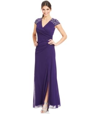 Alex Evenings Cap-Sleeve Embellished Side-Slit Gown $199.00 AT vintagedancer.com