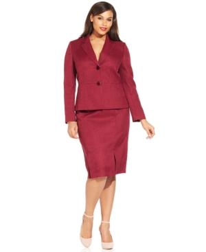 Le Suit Plus Size Kick-Pleat Tweed Skirt Suit