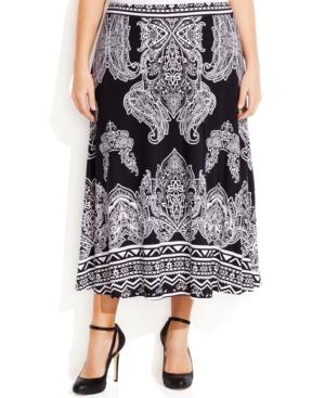 INC International Concepts Plus Size Ikat-Print Maxi Skirt