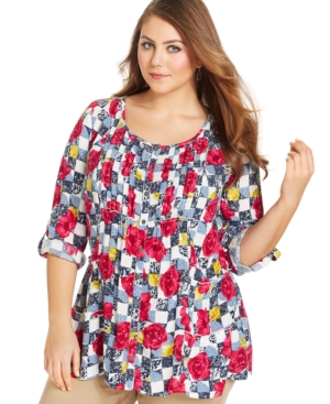 Style & co. Plus Size Pintucked Floral-Print Shirt