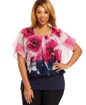 Style & co. Plus Size Ombre Floral-Print Blouson Top