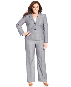 Let Suit Plus Size Two-Button Contrast-Seams Pantsuit