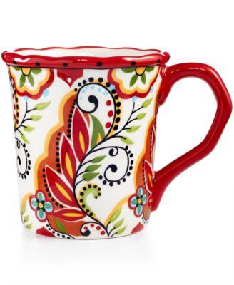 Espana Bocca Red Scalloped Mug