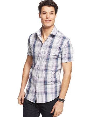 Alfani big and tall short sleeve morse plaid shirt for Alfani mens shirt size chart