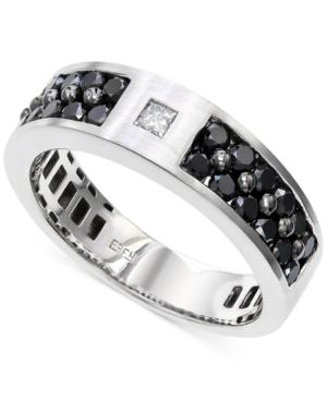 Effy Men's Black and White Diamond (1-1/6 ct. t.w.) Ring in 14K White Gold