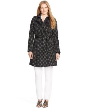 Lauren Ralph Lauren Plus Size Polka-Dot Trench Coat