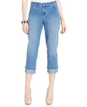 Style & Co. Petite Curvy-Fit Embellished-Hem Capri Jeans