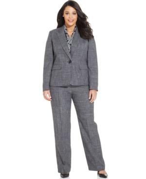 Le Suit Plus Size Scarf & One-Button Melange Pantsuit