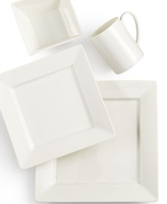 Martha Stewart Collection Avenue Square Whiteware 4-Piece Place Setting