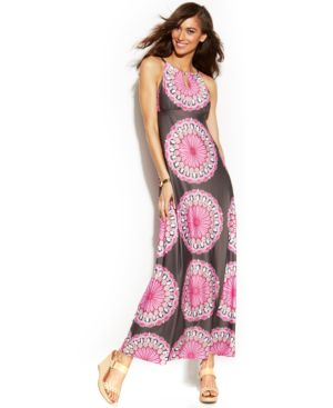 INC International Concepts Petite Printed Keyhole Halter Maxi Dress