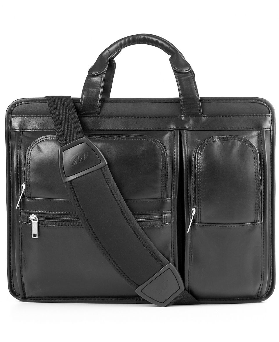 Kenneth Cole Reaction Manhattan Leather Expandable Double Gusset Laptop Brief   Business & Laptop Bags   luggage