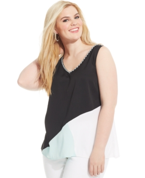 Jessica Simpson Plus Size Colorblocked Top
