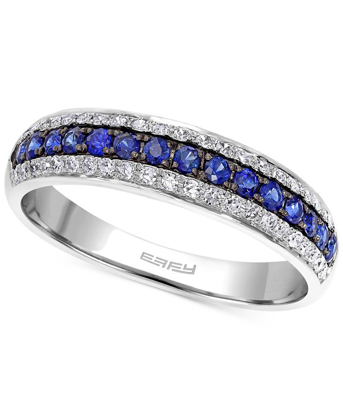 EFFY Collection - Sapphire (1/5 ct. t.w.) and Diamond (3/8 ct. t.w.) Band in 14k White Gold