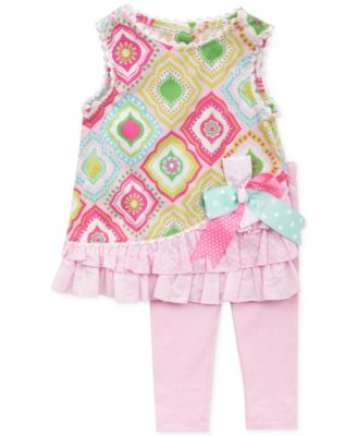 Rare Editions Baby Girls' 2-Piece Printed Ruffle Top & Leggings Set
