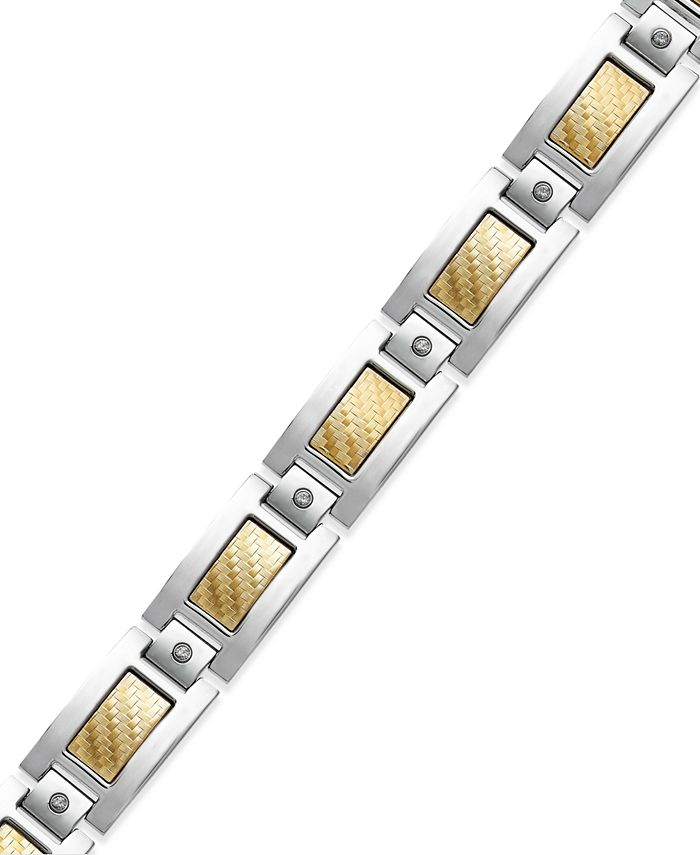 Macy's - Men's Inlay Diamond Bracelet (1/5 ct. t.w.) in Stainless Steel and 18k Gold