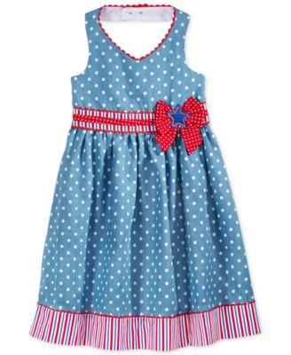 Nannette Little Girls' or Toddler Girls' Printed Chambray Americana Dress
