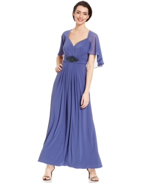 Patra Long Dress with Attached Cape $179.00 AT vintagedancer.com