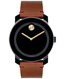 Movado Unisex Swiss Bold Rustic Brown Leather Strap Watch 42mm