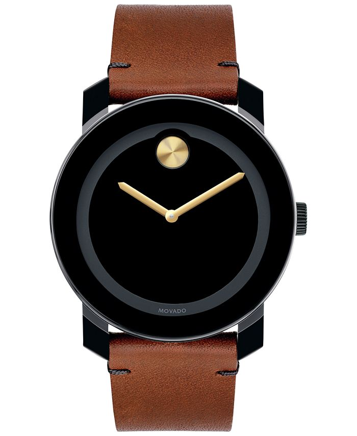 Movado - Unisex Swiss Bold Rustic Brown Leather Strap Watch 42mm 3600305