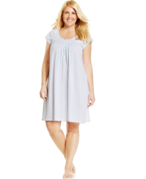Miss Elaine Plus Size Silky Knit Short Sleeve Gown