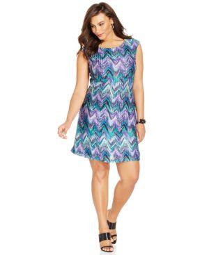 Connected Plus Size Chevron-Print Knit Shift Dress