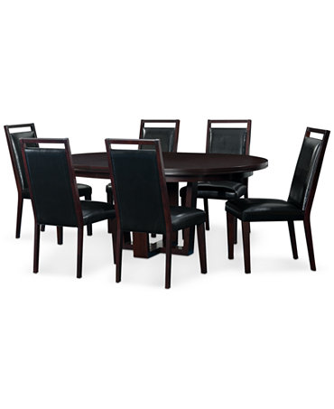 Belaire Black Round 7 Piece Dining Room Furniture Set Furniture Macy 39 S