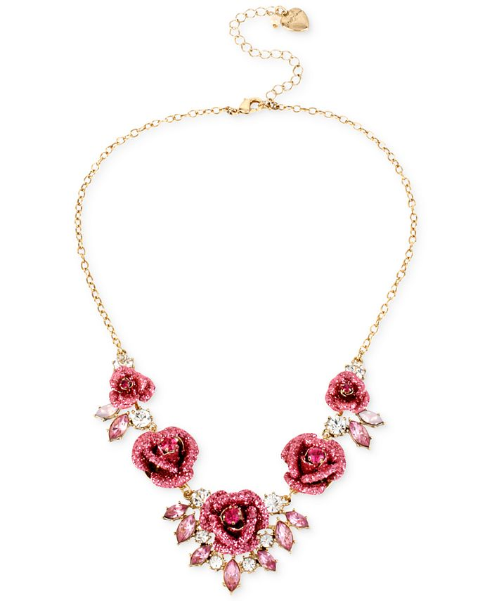 Betsey Johnson - Gold-Tone Glitter Rose Frontal Necklace