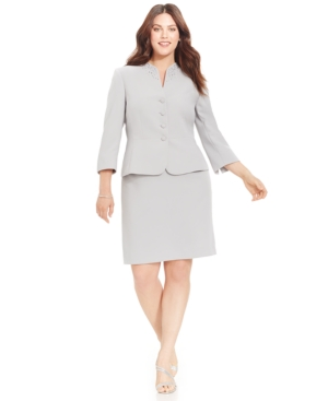 Tahari Asl Plus Size Four-button Embellished Skirt Suit