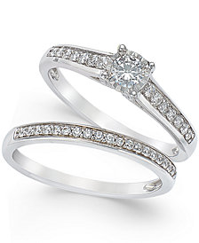 TruMiracle® Diamond Engagement Ring and Wedding Band Set (1/2 ct. t.w.) in 14k White Gold