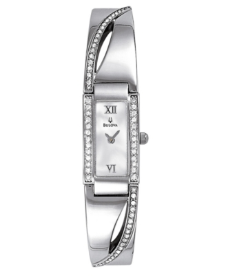 Bulova Watch, Women's Stainless Steel Crystal Accent Bangle Bracelet 96T63
