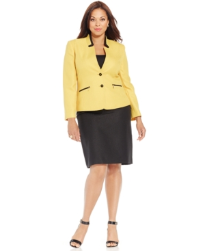 Tahari ASL Plus Size Two-Button Colorblocked Skirt Suit