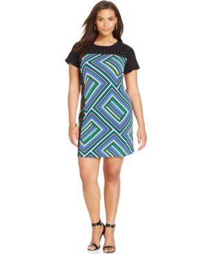 Calvin Klein Plus Size Short-Sleeve Printed Shift Dress