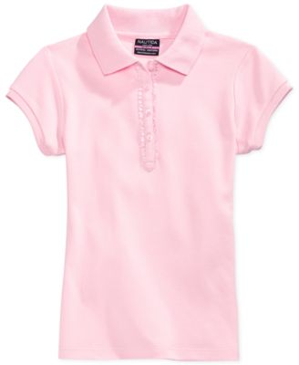 Image of Nautica Girls' Uniform Ruffle-Placket Polo