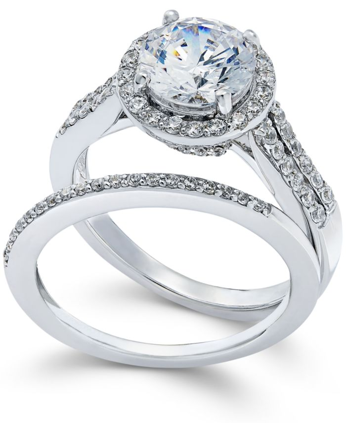 Arabella Swarovski Zirconia Bridal Set in Sterling Silver (4 ct. t.w.) & Reviews - Rings - Jewelry & Watches - Macy's