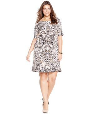 Connected Plus Size Printed Shift Dress
