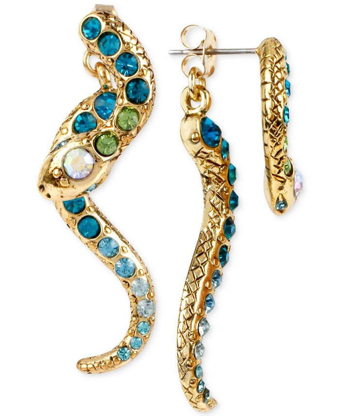 Betsey Johnson - Gold-Tone Pavé Crystal Snake Front and Back Earrings