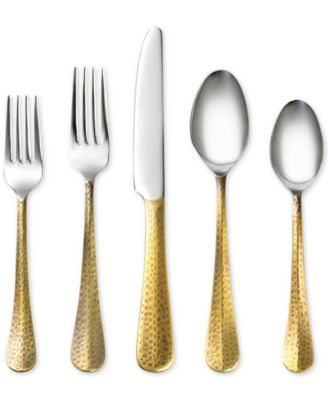 Indira by Cambridge Jessamine Hammered Gold 20-Pc. Flatware Set, Service for 4