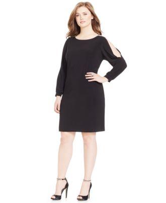 MSK Limited Plus Size Embellished Cold-Shoulder Dress