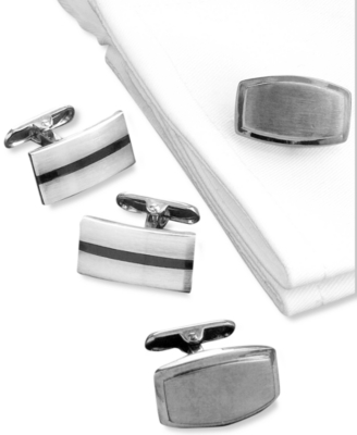 Kenneth Cole Reaction Black & Silver Cufflinks