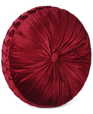 "J Queen New York Berkshire 15"" x 4"" Tufted Round Decorative Pillow"