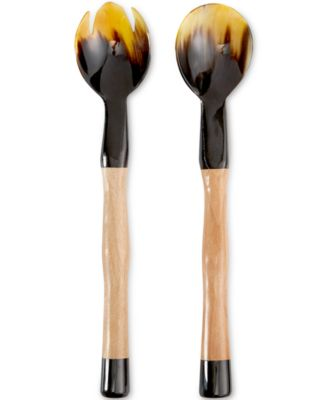 Heart of Haiti Horn Salad Servers with Wooden Handles