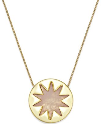 House of Harlow Gold-Tone Rose Quartz Sunburst Pendant Necklace