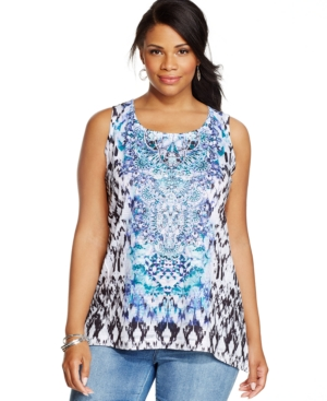 Style & co. Plus Size Embellished Ikat-Print Tank Top