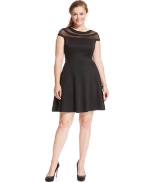 Trixxi Plus Size Cap-Sleeve Illusion Flare Dress