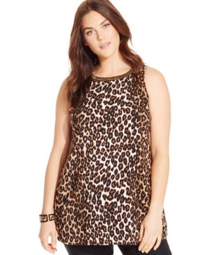 Alfani Plus Size Sleeveless Beaded Animal-Print Top