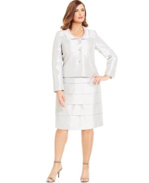 Kasper Plus Size Three-button Shantung Skirt Suit