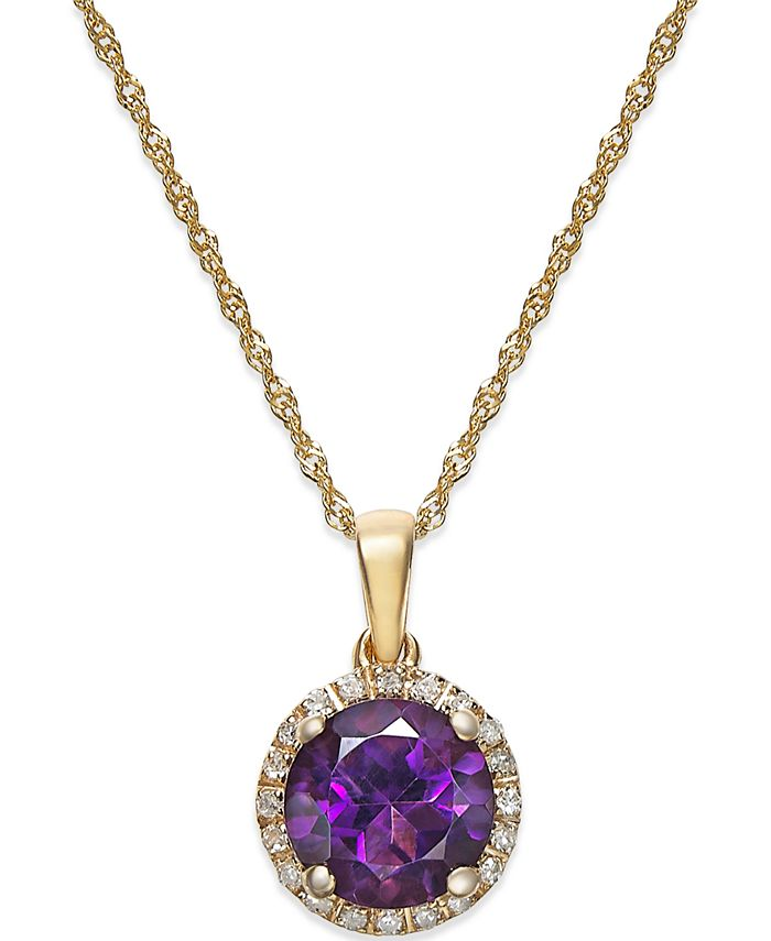 Macy's - Amethyst (1-1/10 ct. t.w.) and Diamond Accent Pendant Necklace in 14k Gold