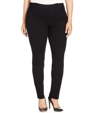Charter Club Plus Size Pull-On Skinny Jeans, Saturated Black Wash